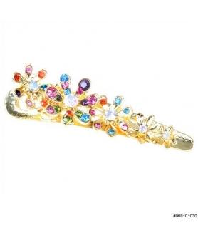 Crystal Flower Pinch Clip