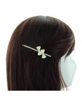 Elegant Faux Pearl Bow & Crystal Bobby Pin