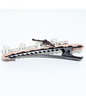 Crystal Faux Pearl Lace Alligator Clip