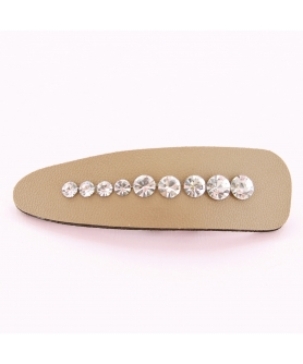 Faux Leather Rhinestone Water Drop Snap Clip