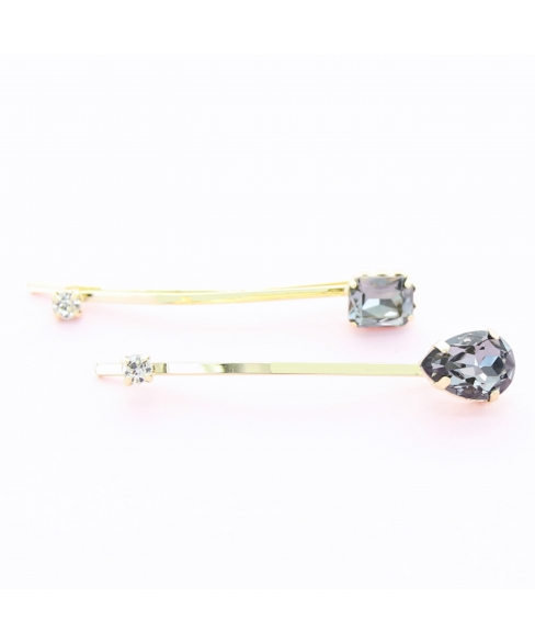 Rhinestone 2-Pack Hair Bobby Pins/Clips