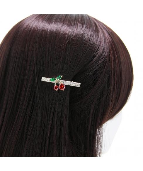Cubiczirconia Rhinestone Cherry Pinch Clip