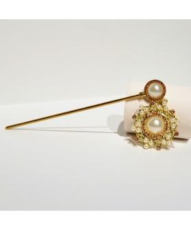 Drop Faux Pearl & Crystal Hair Stick