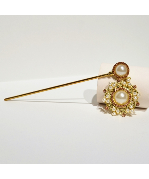 Drop Faux Pearl & Crystal Hair Stick