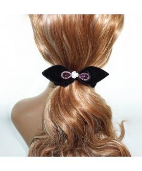 Silk Like Velvet Crystal Bow Ponytail Holder