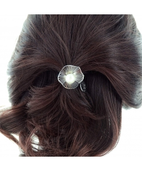 Faux Pearl Cutout Flower Ponytail Holder