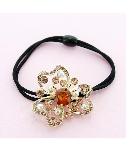 Crystal Flower Ponytail Holder