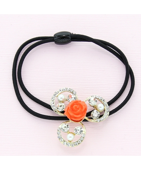 Crystal Flower Ponytail Holder