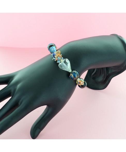 Crystal Heart & Beads Stretch Bracelet