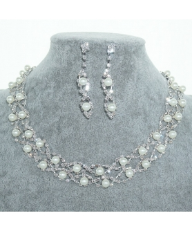Rhinestone & Faux Pearl Evening Necklace Set