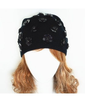 Double Layer Sequence Flower Beanie