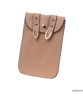 Textured vegan leather bow crossbody cellphone bag