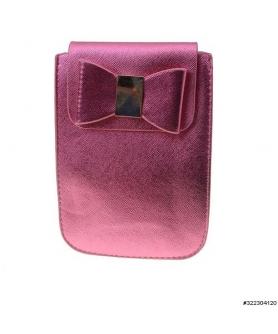 Vegan leather bow crossbody cellphone bag