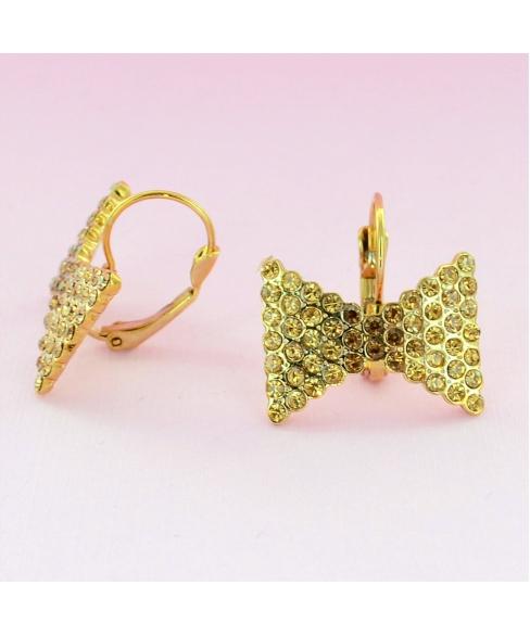 Sparkling Rhinestone Bow Earrings