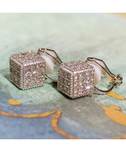 Cubic Zirconia Cube Studs Clip On Earring