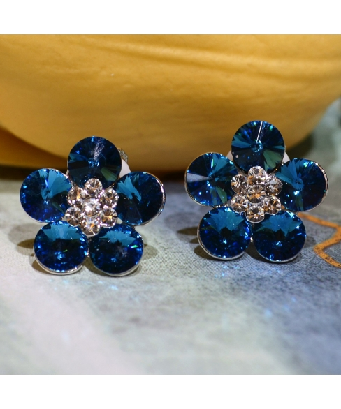 Crystal Flower Cilp On Earring