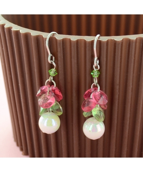 Drop Crystal And Pearl Earring