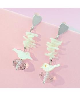 Crystal Drop Bird Earrings