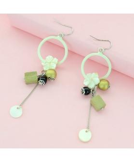Flower Beaded Drop Earrings