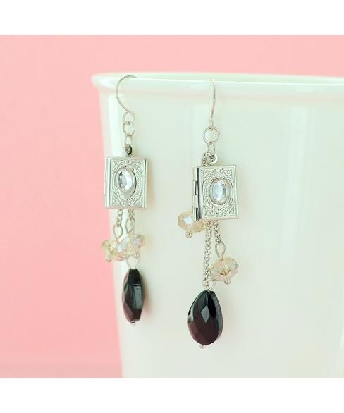 Locket Crystal Drop Earrings