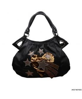 Sequin Heart and Crystal Star Shoulder Bag