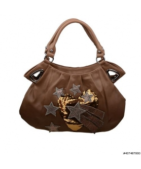 Sequin Heart and Crystal Star Shoulder Bag