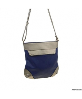 Metallic Trim Two Tone Vegan Leather CrossBody Bag