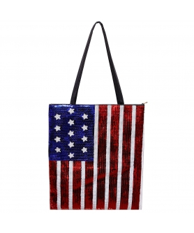 Over-the-shoulder Flag Sequin Tote