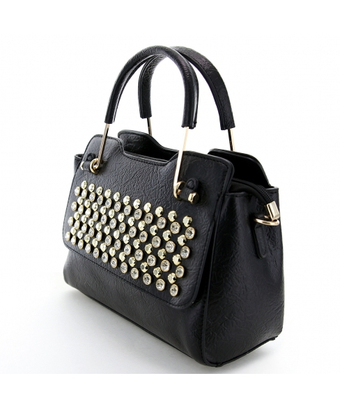 Crystal Studded Top Handle Faux Leather Satchel
