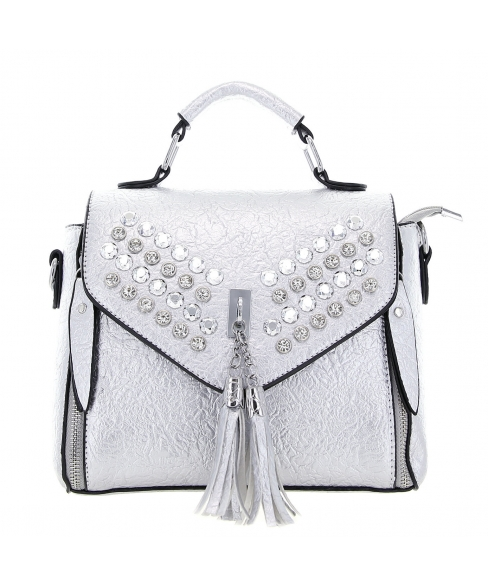 Crystal Studded Faux Leather Satchel