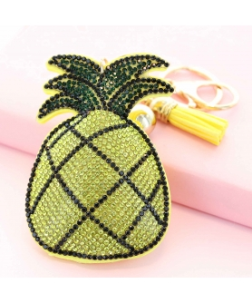 Glitter Crystal Pineapple Key Chain With Tassel