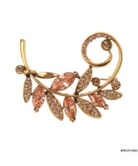 Cubiz Zirconia Autumn Leave Pin
