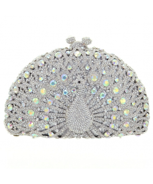 Crystal-Embellished Peacock Evening Clutch