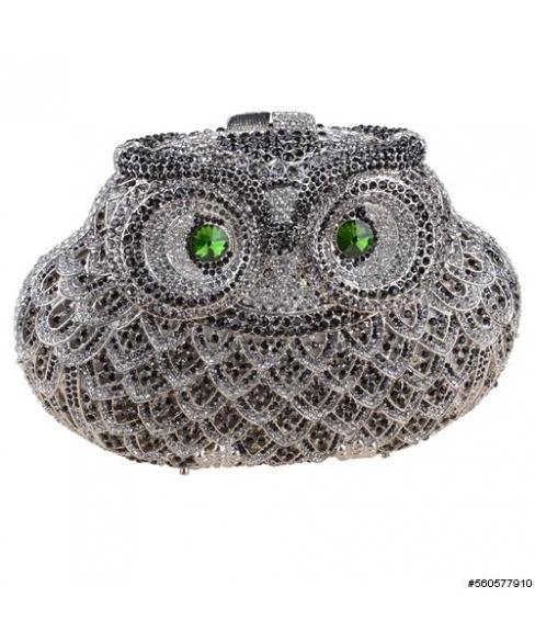 Crystal-Embellished Owl Evening Clutch