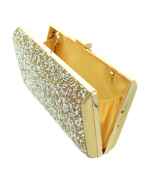 Shimmering Metallic Crystal Clutch
