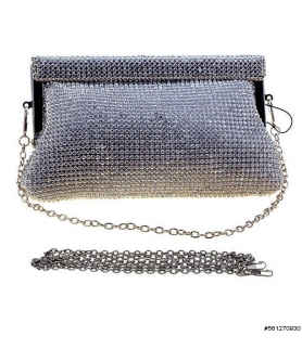 Dazzling Crystal Metal Mesh Clutch