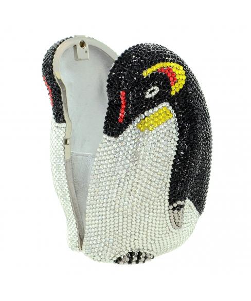 Crystal-Embellished Penguin Evening Clutch