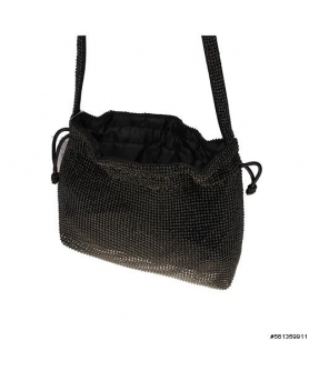 Crystal Mesh Crossbody Bucket Bag