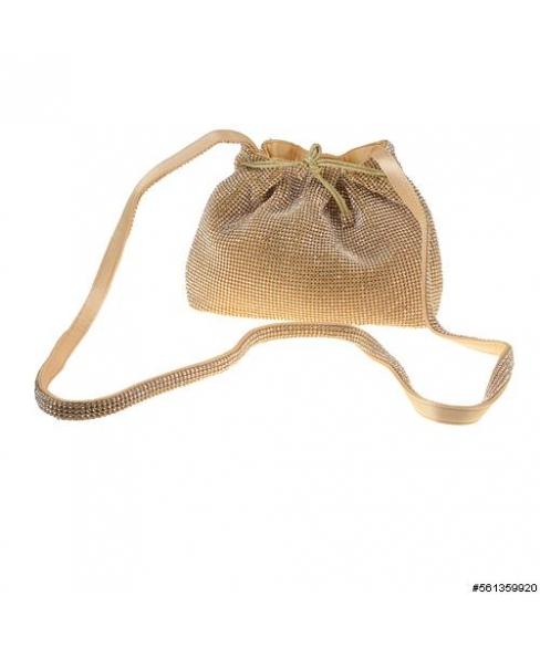 Crystal Mesh Crossbody Bucket Bag