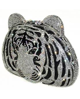 Crystal-Embellished Tiger Head Evening Clutch