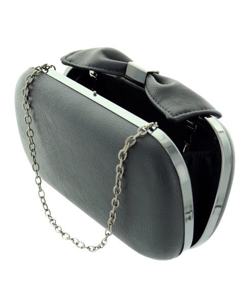 Bow Top Faux Metallic Leather Clutch