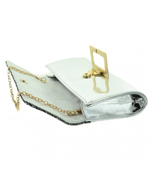 Glitter & Buckle Faux Patent Leather Clutch