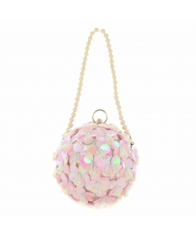 Hand Sewn Full-blooming Sequin Flower Ball Clutch