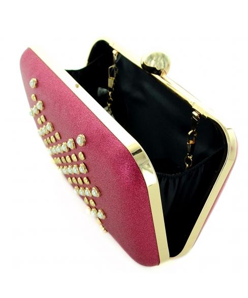 Faux Pearls & Studs Box Clutch