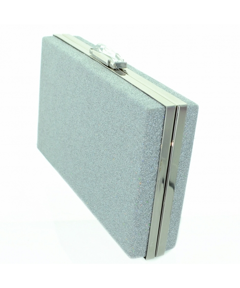 Metallic Glitter Crystal Top Clutch
