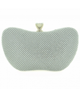 Crystal-dotted Metal Mesh Clutch