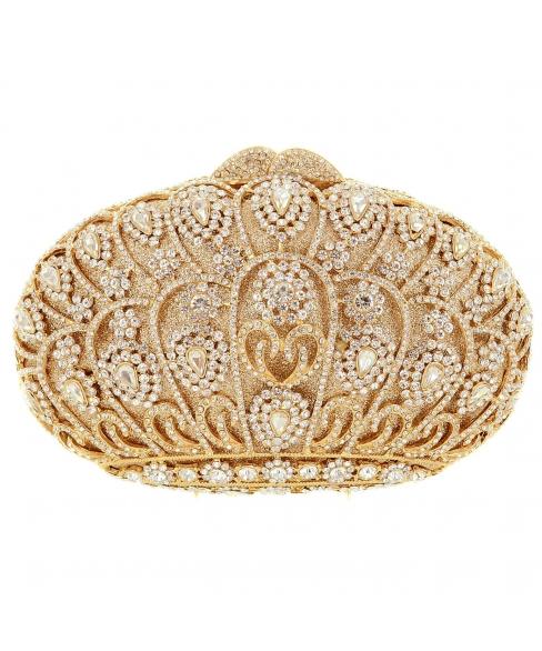 Crystal-Embellished Crown Evening Clutch