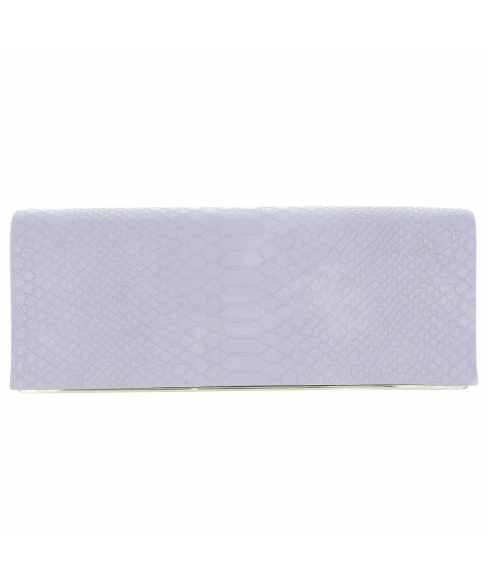 Croc Embossed Faux Leather Clutch