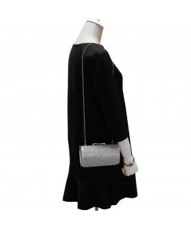 Women Rhinestone Crystal Mesh Cylinder Clutch Bag