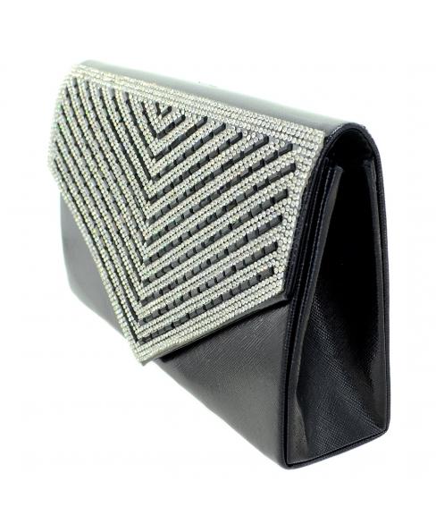Crystal Embellished Metallic Clutch